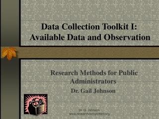 Data Collection Toolkit I:  Available Data and Observation
