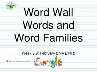 Word Wall Words and Word Families