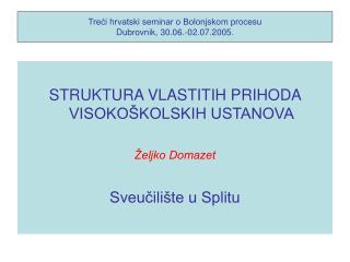 Treći hrvatski seminar o Bolonjskom procesu Dubrovnik, 30.06.-02.07.2005.