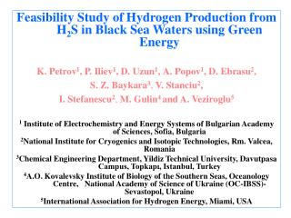Feasibility Study of Hydrogen Production from H 2 S in Black Sea Waters using Green Energy