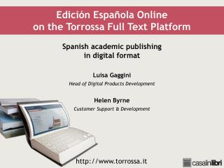 Edición Española Online on the Torrossa Full Text Platform