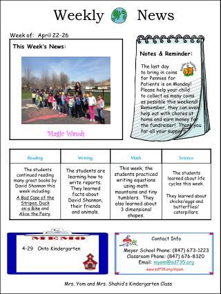 Weekly       News    Week of:  April 22-26