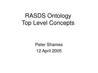 RASDS Ontology Top Level Concepts