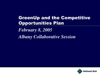 GreenUp and the Competitive Opportunities Plan