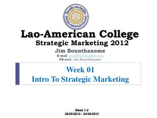 Week 01 Intro To Strategic Marketing