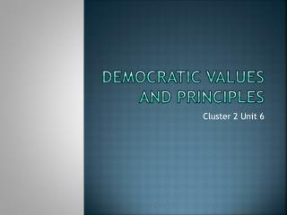 Democratic Values and Principles