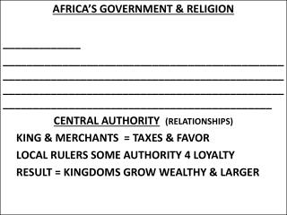 AFRICA'S GOVERNMENT & RELIGION _____________