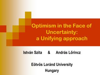Optimism in the Face of Uncertainty: a Unifying approach