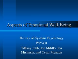 Aspects of Emotional Well-Being