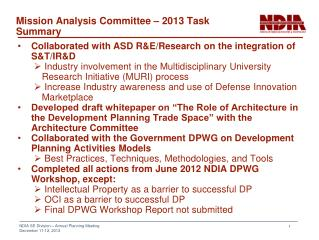 Mission Analysis Committee  – 2013 Task Summary