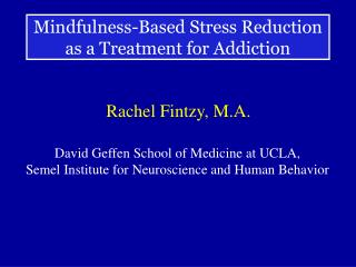 Mindfulness-Based Stress Reduction as a Treatment for Addiction