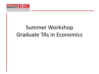 Summer Workshop Graduate TAs in Economics