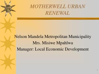 MOTHERWELL URBAN RENEWAL