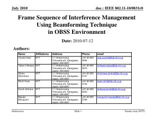 Frame Sequence of Interference Management  Using Beamforming Technique  in OBSS Environment