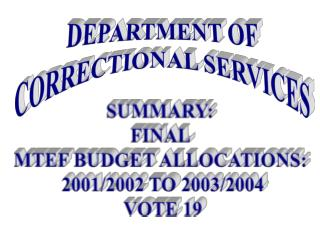 SUMMARY:  FINAL  MTEF BUDGET ALLOCATIONS:  2001/2002 TO 2003/2004 VOTE 19