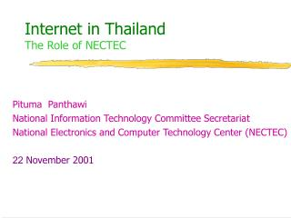 Internet in Thailand The Role of NECTEC