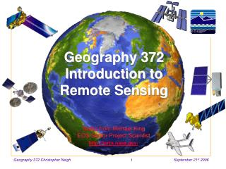 Geography 372 Introduction to  Remote Sensing