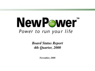 Board Status Report 4th Quarter, 2000