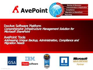 DocAve Software Platform Comprehensive Infrastructure Management Solution for Microsoft SharePoint