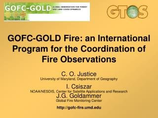 GOFC-GOLD Fire: an  International Program for the Coordination of Fire Observations