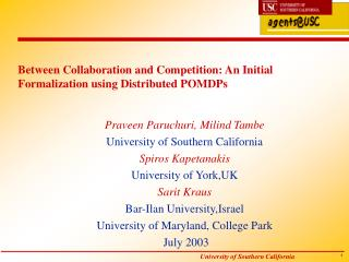 Between Collaboration and Competition: An Initial Formalization using Distributed POMDPs