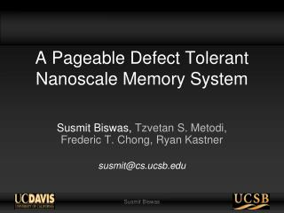 A Pageable Defect Tolerant Nanoscale Memory System