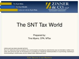 The SNT Tax World