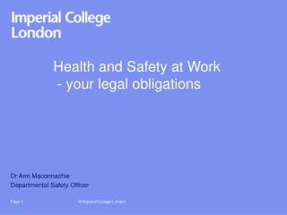 Health and Safety at Work  - your legal obligations
