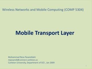 Wireless Networks and Mobile Computing (COMP 5304)