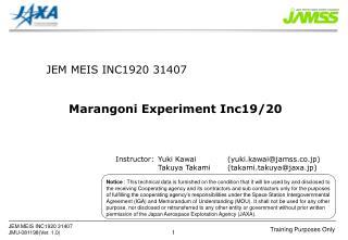 JEM MEIS INC1920 31407 Marangoni Experiment Inc19/20