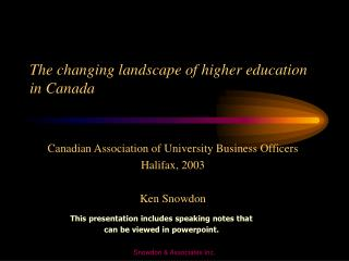 The changing landscape of higher education in Canada