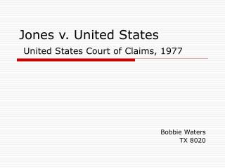 Jones v. United States United States Court of Claims, 1977