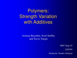 Polymers: Strength Variation              with Additives