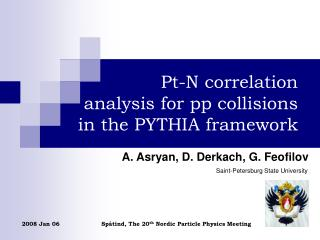 Pt-N correlation  analysis for pp collisions  in the PYTHIA framework