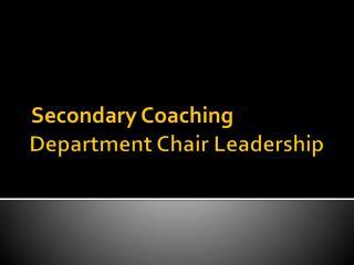Department Chair Leadership