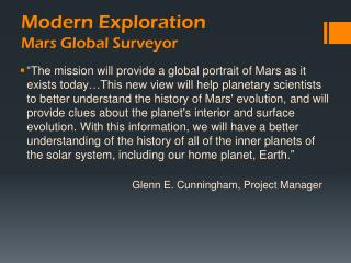 Modern Exploration Mars Global Surveyor