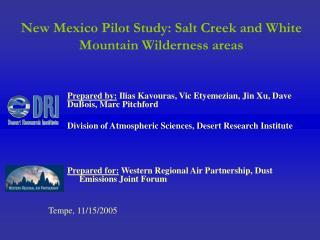 New Mexico Pilot Study: Salt Creek and White Mountain Wilderness areas
