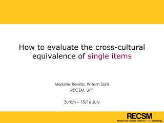 How to evaluate the cross-cultural equivalence of  single items