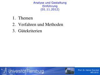 Analyse und Gestaltung  Einführung  (01.11.2012)