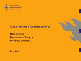 X-ray methods for nanoscience