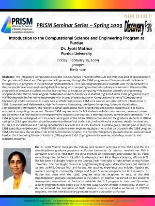 PRISM Seminar Series – Spring 2009