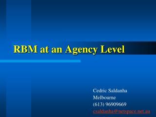 RBM at an Agency Level