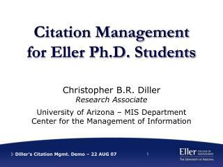 Citation Management for Eller Ph.D. Students