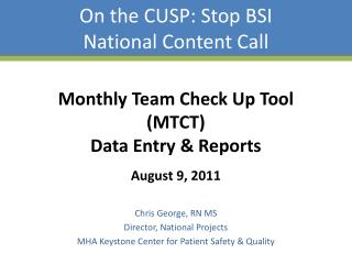 On the CUSP: Stop BSI National Content Call