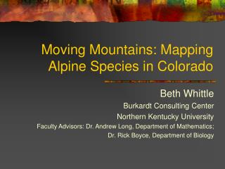 Moving Mountains: Mapping Alpine Species in Colorado
