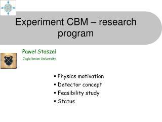 Experiment CBM – research program