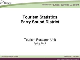 Tourism Statistics Parry Sound District