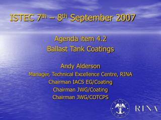 ISTEC 7 th  – 8 th  September 2007