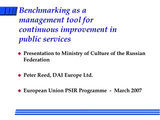 Benchmarking as a management tool for continuous improvement in public services