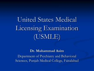 United States Medical Licensing Examination (USMLE)